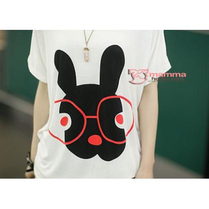 Maternity Tops - Red Eyes Rabbit White