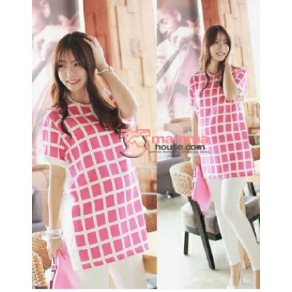 Maternity Tops - Korean Grid Chiffon Pink