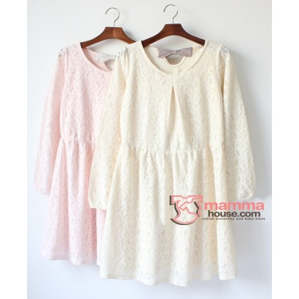 Nursing Dress - Japanese Lace Back Ribbon (2 colors)