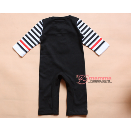 Baby Clothes - Romper Long Love Papa or Mama (Black/ Grey)