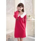 Nursing Dress - Long Wave Collar Red