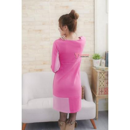 Nursing Dress - Long Lycra Lace Pink