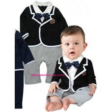 Baby Clothes - Romper Long Formal Dark Blue