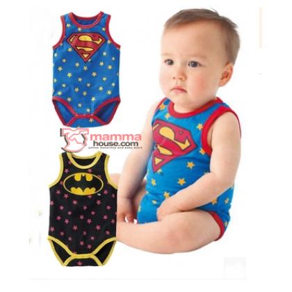 Baby Clothes - Romper Batman or Superman (Singlet)