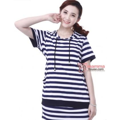 Nursing Set - Modal Stripe Blue