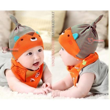 Baby Bib & Hat Set - Bear Stripe Orange