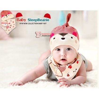 Baby Bib & Hat Set - Bear Stripe Red