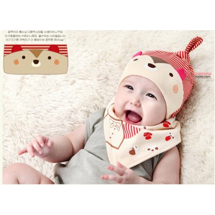 Baby Bib & Hat Set - Bear Stripe Red