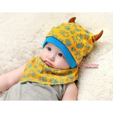 Baby Bib & Hat Set - Monster Yellow