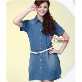 Nursing Dress - Denim Button Blue