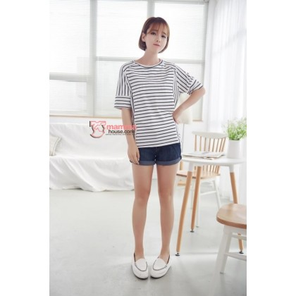 Nursing Tops - Korean Cross Stripe White