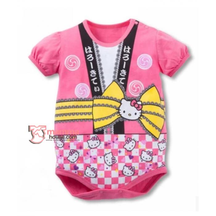 Baby Clothes Romper Kimono Kitty Pink