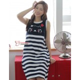 Nursing Dress - Cute Cat Stripe Dark Blue