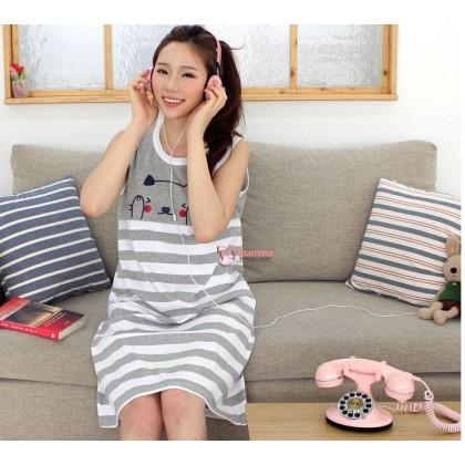 Nursing Dress - Cute Cat Stripe Grey