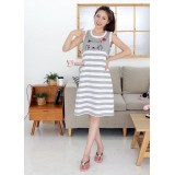 Nursing Dress - Cute Cat Stripe Grey