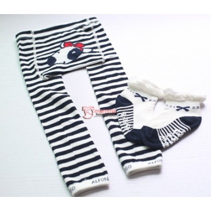 Baby Hose Set - Alfon Stripe Black (hose with socks)