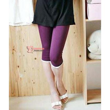 Maternity Legging - White Lace Purple