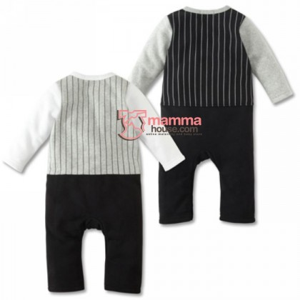 Baby Clothes - Romper Long Bowtie (white or black)