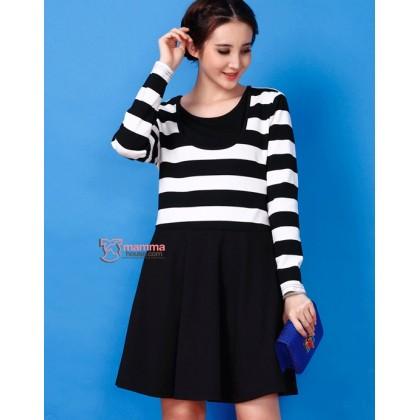 Nursing Dress - Cool Black White Stripe