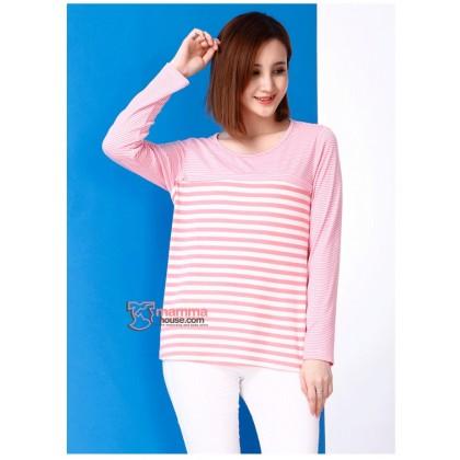 Nursing Tops - Long Zip Stripe Pink