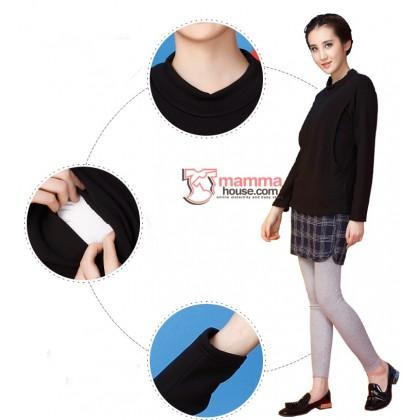 Nursing Tops - Long Fold Collar (Black or Grey)