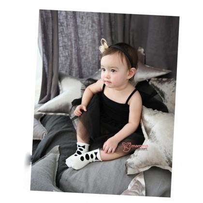 Baby Socks - Korean 3 buttons Bowtie White