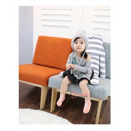 Baby Socks - Korean 3 buttons Bowtie Pink