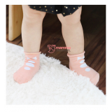 Baby Socks - Korean 3 buttons Bowtie Pink