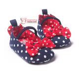 Baby Shoes -  Ribbon Polka Dark Blue