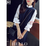 Maternity Blouse - Collar White Black Chiffon