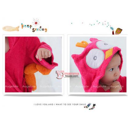 Baby Bathrobe - Cute Owl Pink