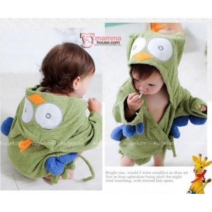 Baby Bathrobe - Cute Owl Green