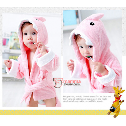 Baby Bathrobe - Cute Shark Pink