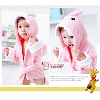 Baby Bathrobe - Cute Shark Pink