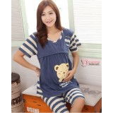 Mamma Pajamas - Short Love & Home Bear Blue