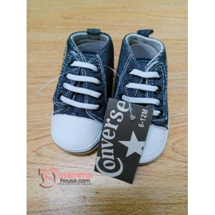 Baby Shoes - Converse White Blue