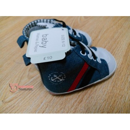 Baby Shoes - 2 Anchors Blue