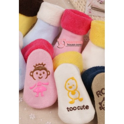 Baby Socks - Korean Terry Pink Monkey