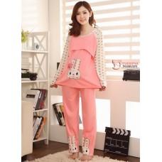 Mamma Pajamas - Rabbit Pink LONG Sleeves