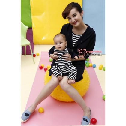 Nursing Dress - Stripe Dark Blue (plus baby romper)