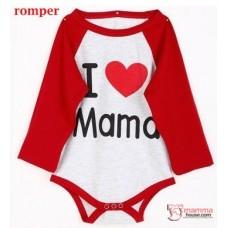 Nursing Set - Love Mama Red (plus baby romper, tops, jumpsuit)
