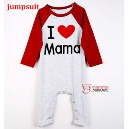 Nursing Set - Love Mama Red (plus baby romper, tops, jumpsuit)