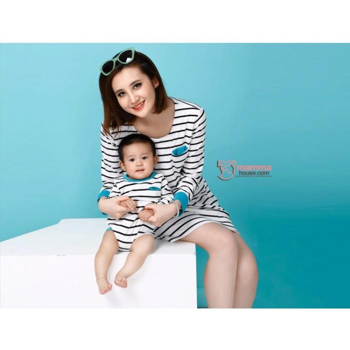 Nursing set long stripe sleeves blue plus baby romper for Mama s fish house dress code