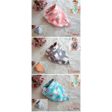 Baby Bib - Korean Cotton 2 way Bear (3 colors)