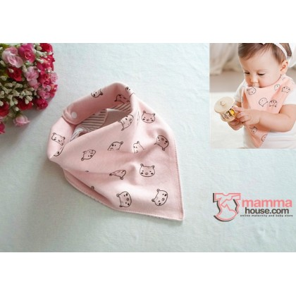 Baby Bib - Korean Cotton 2 way Little Bear (3 colors)