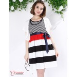 Nursing Dress - 2pcs Stripe Dress Coat White (2 colors)