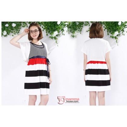 Nursing Dress - 2pcs Stripe Dress Coat White (2 colors)