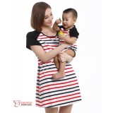 Nursing Set - 3 colors Stripe Sleeves Black (plus baby romper red sleeves)