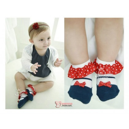 Baby Socks - Korean Polka Lace Ribbon (2 colors)