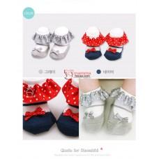 Baby Socks - Korean Polka Lace Ribbon (2 colors)